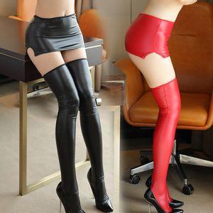 Ropa interior atractiva del club de noche del látex Medias de las mujeres de imitación de cuero de alta del muslo Medias Polo Hot Dance Party calcetería