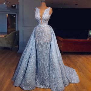 De lujo 2020 de los azules cielos del desfile de los vestidos de noche con falda desmontable africana musulmana Forma vestido de fiesta del traje de soiree abendkleider