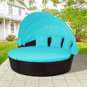 USA Stock, Meubles Bleu patio ronde d'extérieur Canapé en rotin Ensemble Daybed Chaise longue avec auvent rétractable hauteur Ajuster SH000086AAC