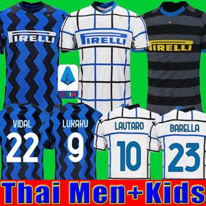2020 2021 ERIKSEN Лукаку LAUTARO Интер Милан дома прочь трикотажные изделия футбола Барелла 19 20 21 футбол верхней рубашки для мужчин Детские наборы наборы униформу