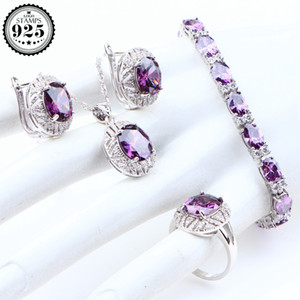 Wedding Silver 925 Jewelry Sets Purple Cubic Zirconia Earrings For Women Bridal Cosutme Jewlery Necklace Rings Set Gifts Box C0927