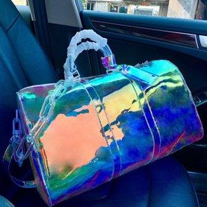 Duffel sacos grandes bolsas de moda transparentes marca tamanho grande tamanho grande laser nova capacidade de viagem de mochila IQVCI