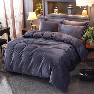New Winter Fleece Bedding Sets Solid Black Grey Duvet Cover Flannel Fleece Pillowcases 3 4Pcs Home Bed Linens Warm Custom size#s