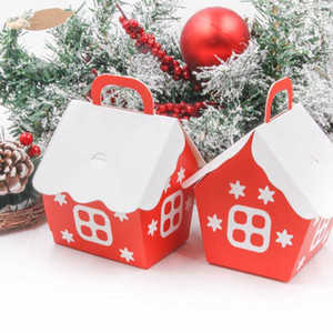 5pcs Christmas Box House Shape Candy Bags Xmas Gift DIY Red Cookie Packaging Party Decoration Merry Christmas Home Supplies