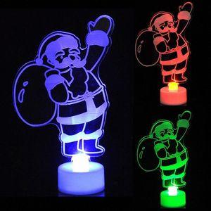 Горячее Рождество Изменение цвета Night Light Акриловые Xmas Tree Санта светодиодные лампы Home Party Decor MDD88 Ml1V #