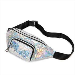 TRASSORY Womens Leather Laser Waterproof Waist Fanny Pack Running Travel Fashion Chest Belt Bag Silver for Ladies Girls