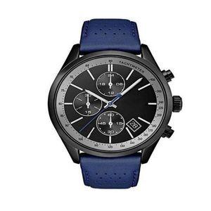 de 2020 Black Leather Dial do Grand Prix Homens Banda Assista Homens 44 milímetros azul couro banda IP Aço Caso Quartz Watch-1513563