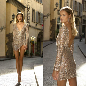 Berta Short Prom Dresses Deep V Neck Sequins Long Sleeve Sexy Backless Evening Gowns Custom Made Mini Cocktail Dress Party Wear