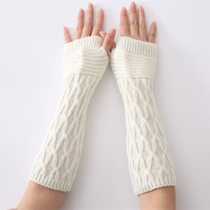 2020 New Women's Long Gloves Winter Cross Gloves Arm Knitting Striped Mitten Warm Fingerless Femme For Women
