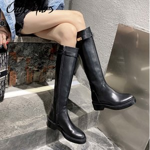 Knee HIgh Boots Black Genuine Leather Long Boots Ruwnay Autumn Winter Party Dress Shoes Women Zapatos Mujer