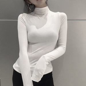 Fashion Long Sleeved T Shirt Fitness Women Solid Color Turtleneck Slim Harajuku Tops Black Casual Tee Shirt