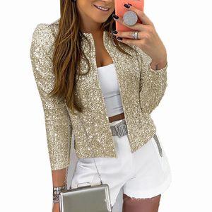 STYLISH LADY Glitter Bling Sequin Jacket 2020 Spring Women Long Sleeve Gold Silver Black Cardigan Street Club Shiny Jacket Coat