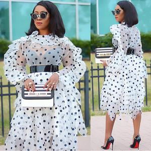 Female New Polka Dot Two Piece Set Organza Oversize Blouse Irregular Midi Skirt Set Plus Size Womens 2020 Spring Summer Fashion X0923