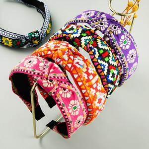 Kadın Vintage El Yapımı Geometrik Desen Hairband Kadın Partisi Saç Aksesuarları için şık Etnik Nakış Çiçek Kafa