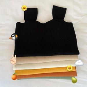 Women Girls Summer Sleeveless Wide Straps Tank Top Solid Color Thread Ribbed Knitted Vest Korean Basic Underwear Slim Tee Shirt