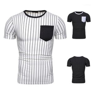 Mens Designer Striped Panelled T-Shirts Fashion Pocket Natural Color Tees Casual Crew Neck Short Sleeve Tees Mens Clothing