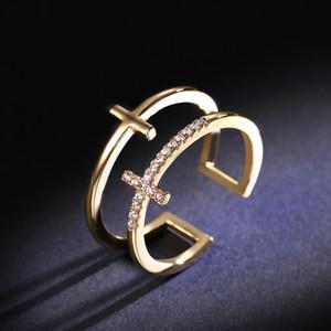 طبقة مزدوجة خواتم مثلج خارج الماس 18K الذهب باذخ مجوهرات أنيقة سخية للحزب النساء المشاركة الجميلة اكسسوارات الدائري