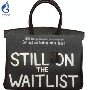 2020 CUSTOM Brief STILL ON LISH Handtasche Gold-Hardware-echtes Leder Top Griff Tasche Messenger Umhängetasche Luxus Klassische WARTEN