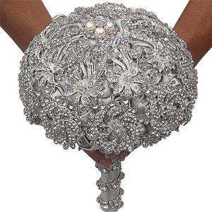 Elegant Silk Wedding Bouquets Luxury Full Rhinestone Pearl Crystal Flower Bouquet for Bride Wedding Party Flowers 18CM