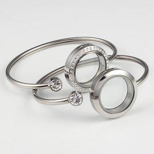 Vendita calda acciaio inossidabile 316L 25 millimetri magnetico d'argento colore di galleggiamento Chamrs Medaglioni Living Memory Locket Bracelet Bangles