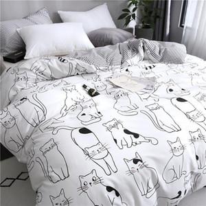 Imposta Cat Cartoon Bedding Set Cotone Kawaii Consolatore biancheria da letto per la ragazza delle donne re a due letti queen size lenzuola e federe