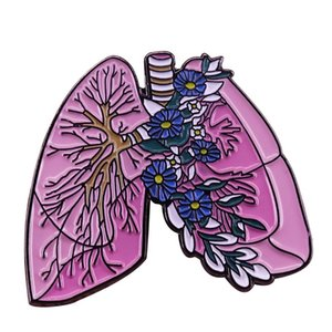 Lungs with flowers lapel pin anatomy Goth art badge asthma respiratory illnesses awareness brooch quirky collection
