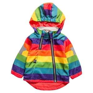 BINIDUCKLING 유아 소년 소녀 가을 자켓 무지개 스트라이프 스타 의류 키즈 후드 지퍼 자켓 코트 어린이 재킷 Y200831