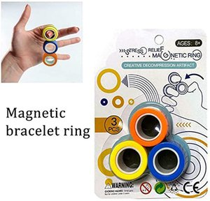 Stress Relief Magnetic Ring Decompression Finger Toys Anti-stress Spinner For Adults Kids Christmas Gifts 3Pcs Set