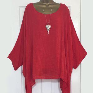 LEWVLIOD Plus Size partes superiores das mulheres e blusas sólidos Batwing manga solta Shirts Asymmetric O Neck Elegante Blusas femininas Verão Blusas Y200828
