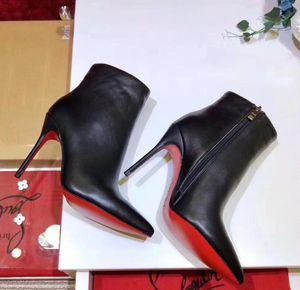 Stiletto Luxus Schwarz Rot Leder mit Spikes spitzen Zehen Frauen Ankle Boots Modedesigner Sexy Damen rote untere Absatz-Schuhe Pumps
