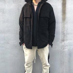 높은 품질 긴 인조 스웨이드 재킷 가을화물 Overshirt 남성 스트리트 슬리브