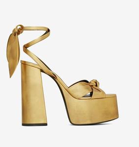 Sexy Peep Toe bowknot starke Ferse Sandale schnürt sie oben Plattform-Absatz-Schuh-Frauen-Sommer-Goldleder-Kleid-Absatz-Keil