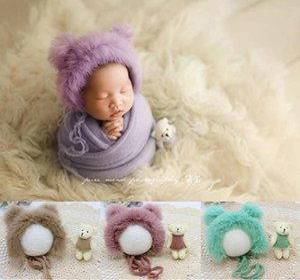 Newborn Photography Props Baby Hat Bear Doll Set,Knitting Baby Soft Hat Newborn Shooting Accessories,#P2502