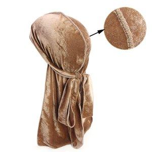 للجنسين الرجال النساء تنفس باندانا قبعة المخملية durag do d du خرقة طويل الذيل السريع arewrap chemo كاب بلون headwears2348