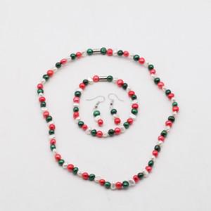 Água doce Cultured Pearl Necklace Set Inclui impressionante pulseira jóias e brincos por Mulheres seis milímetros Pérola Jóias Magnet Set 15 cores