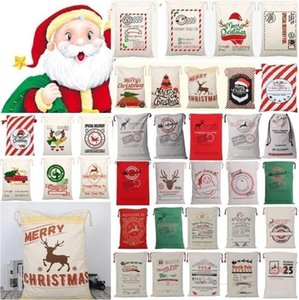Xmas Present Sack Bags Bag Bags Reindeers Candy Christmas Santa Canvas Bag Party Gifts Drawstring Handbags Monogrammable Decorations DH Vcuo