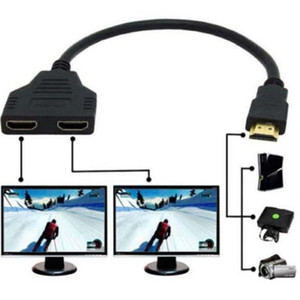 wholesale 1000pcs lot 2Port HDMI Splitter 1 In 2 Out Male to Femal Video Cable Adapter Switch Converter For Audio TV DVD