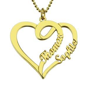 Großhandel personifizierte Liebe-Halskette mit zwei Herzen und Namen goldener Farbe Namenskette Mütter Halskette Liebe Schmuck