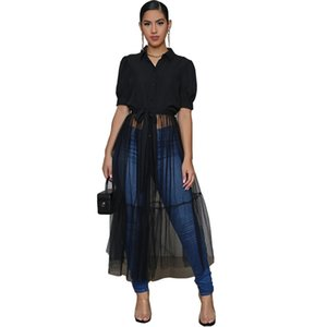 Gauze Patchwork Womens Designer Dresses Summer Lapel Neck Short Sleeve See Through Sexy Casual Women Dress