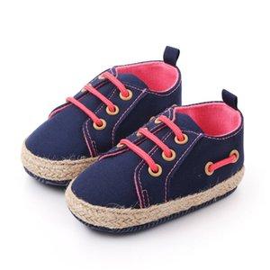 Zapatos del otoño recién nacido muchachas de los bebés de algodón 3 colores casual color sólido Anti-Slip de encaje hasta zapatillas de deporte cómodo con suela blanda N