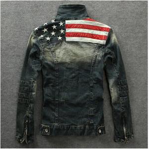 Commercio all'ingrosso 2016 Denim Giacche Outerwear bandiera americana maschile fa il vecchio Motociclo blu jeans del rivestimento del cappotto dell'uomo di moda Jeans Slim Denim con cappuccio LkFY #