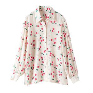 100% Silk Блуза Brand Женская мода высокого класса Luxury Spring Элегантный Cherry печати Silk Shirt Top