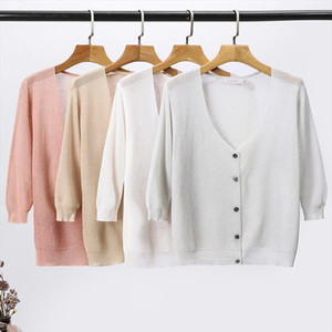 Summer cardigan women thin sweaters outside Knitted top pink white gray 2019 new V Neck one size oversized sweater hollow