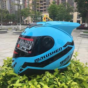 yoldan boynuzları tam yüz kaskı ile Yeni stil kask Mavi renk Asque motorb casco Motosiklet aWce # yarış profesyonel ralli