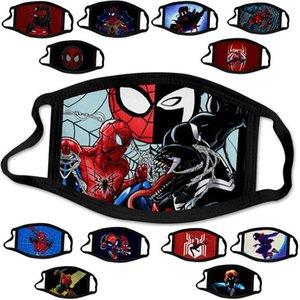 Las máscaras de dibujos animados de la nave de DHL Balck hombre araña héroe americano niños adultos diseñador de la cara Máscara Moda algodón lavable reutilizable puede insertar filtros