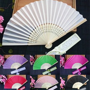 Personalized Wedding Favors and Gifts for Guest Silk Fan Cloth Wedding Decoration Hand Folding Fans With Gift Box 10 Color WX9-790
