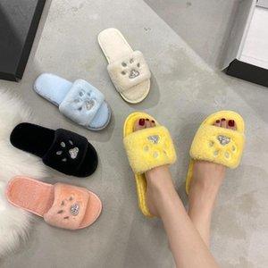 Bordado suave Cat Inicio zapatillas suaves felpa del invierno zapatillas calientes zapatos de la casa para las mujeres de piel falsa sildes Fuzzy