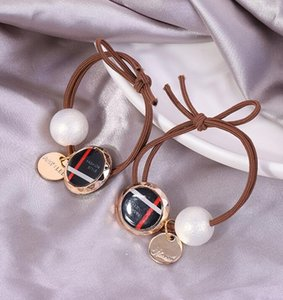 Design fashion luxury high quality Hair Bands Snap Jewelry Pearl Ponytail Holder Elastic Button Charms Social wedding party decorations