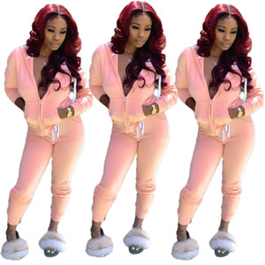 A8075 Europe and America 2020 fall hot fashion casual women's Tracksuits solid color suit sports two-piece suit