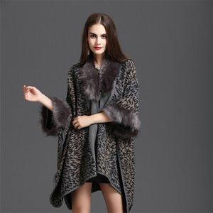 니트 숄 망토 플러스 크기 긴 느슨한 따뜻한 망토 코트 망토 후드 새로운 가을과 겨울 여성 코트 모방 렉스 토끼 모피 칼라
